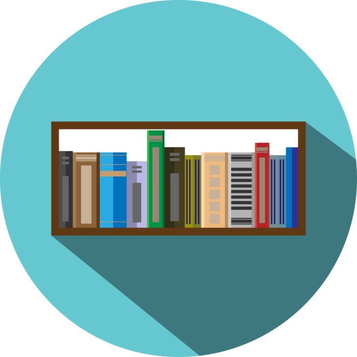 43255264 - book shelf icon flat style. information and bookstore, school education,  textbook and library, vector graphic illustration